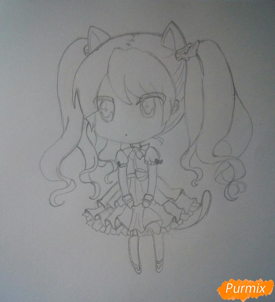 kak-narisovat-chibi-devochku-s-kotikom--pojetapno-5 Как нарисовать милую чиби девочку карандашом поэтапно
