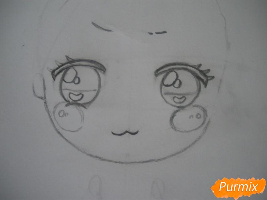 Рисуем чиби девочку в кепке  для начинающих - шаг 2