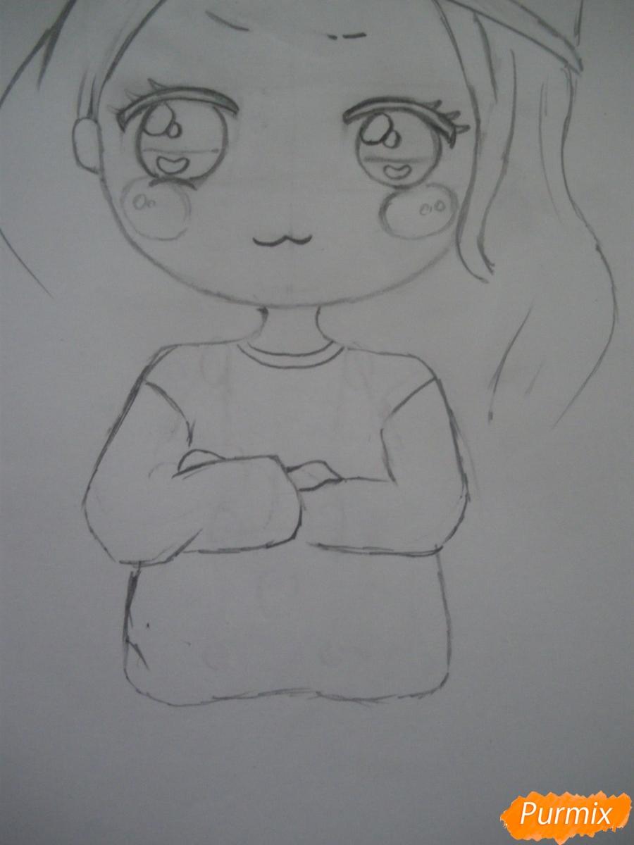 Рисуем чиби девочку в кепке  для начинающих - шаг 4
