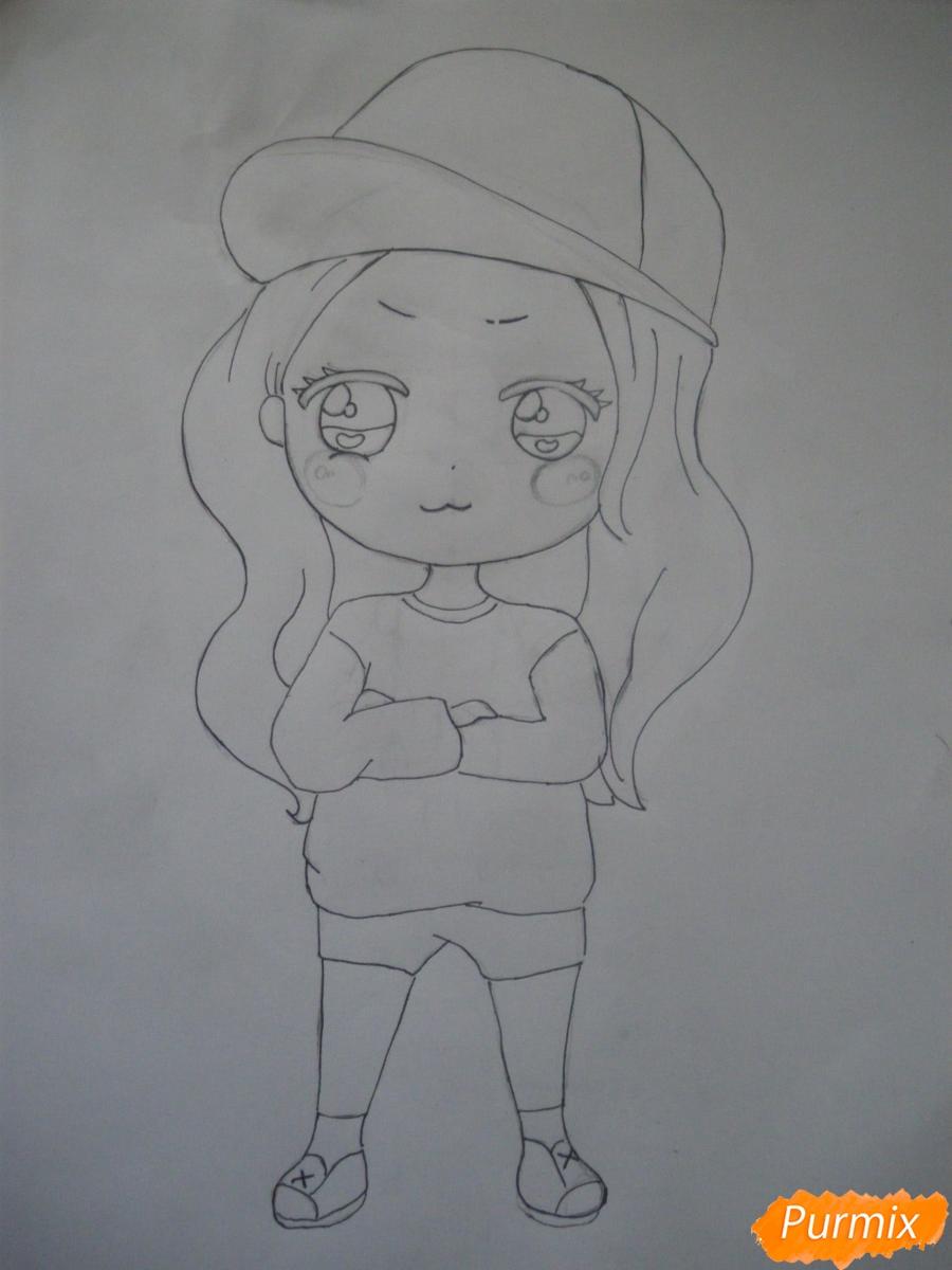 Рисуем чиби девочку в кепке  для начинающих - шаг 7