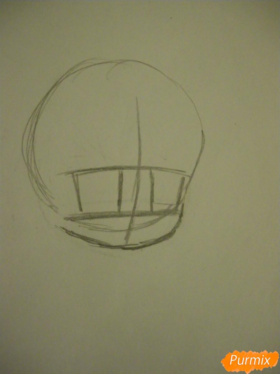 Рисуем чиби девочку в костюме петушка карандашами - шаг 1