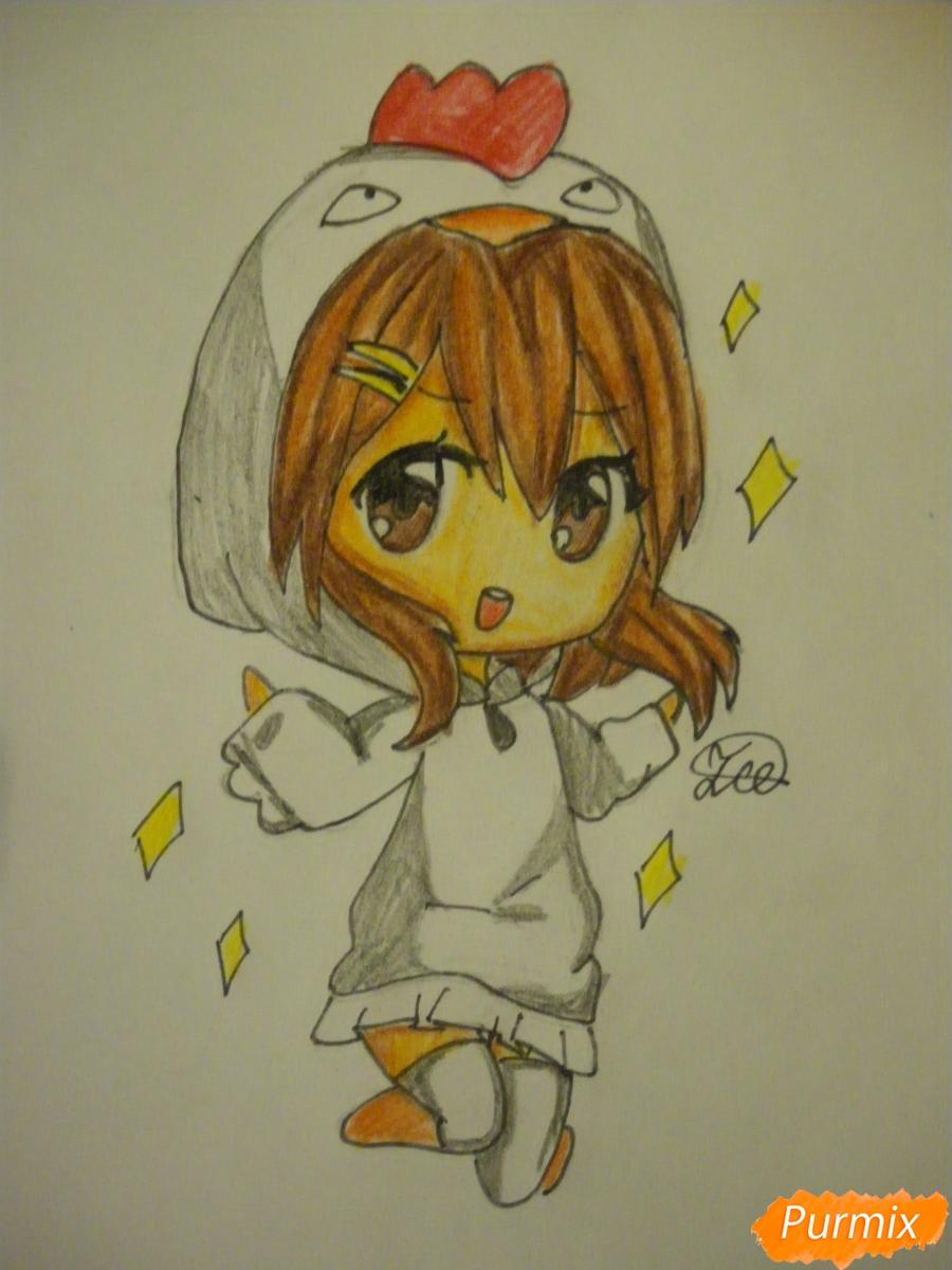 Рисуем чиби девочку в костюме петушка карандашами - шаг 10