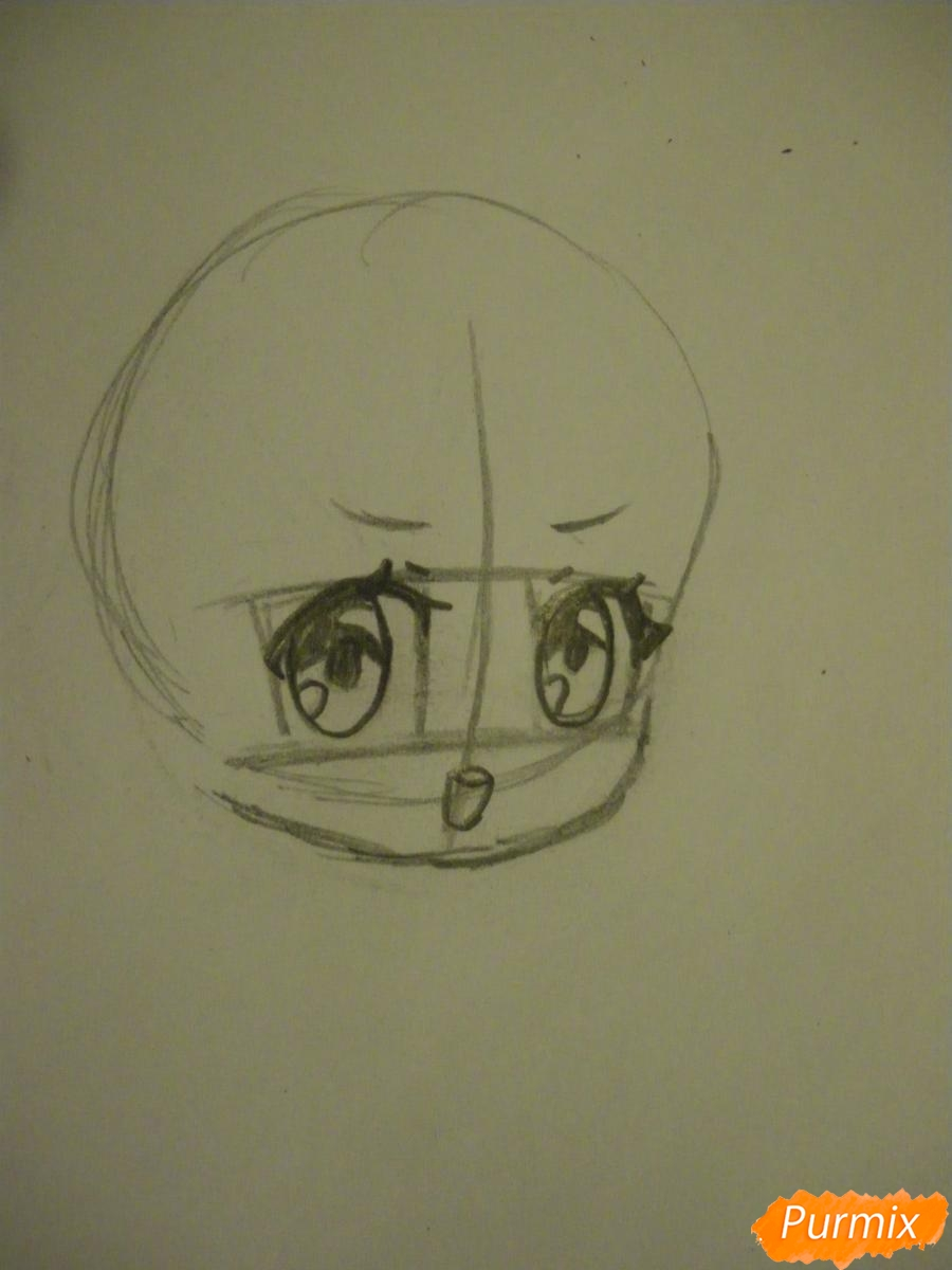 Рисуем чиби девочку в костюме петушка карандашами - шаг 2
