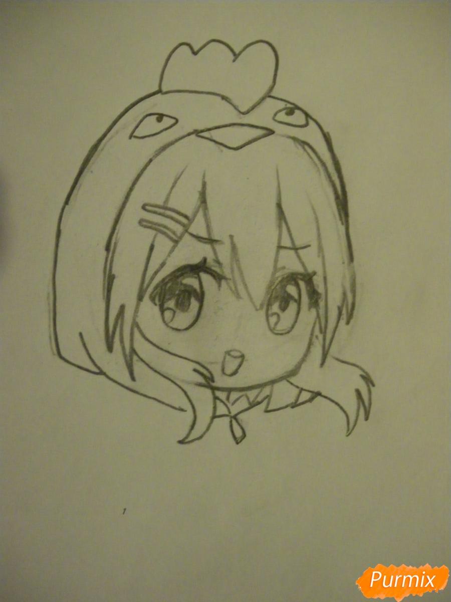 Рисуем чиби девочку в костюме петушка карандашами - шаг 4