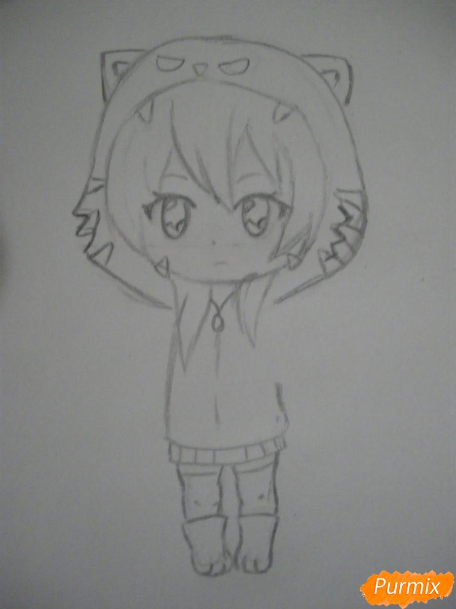 Рисуем чиби девочку в костюме тигра карандашами - шаг 4