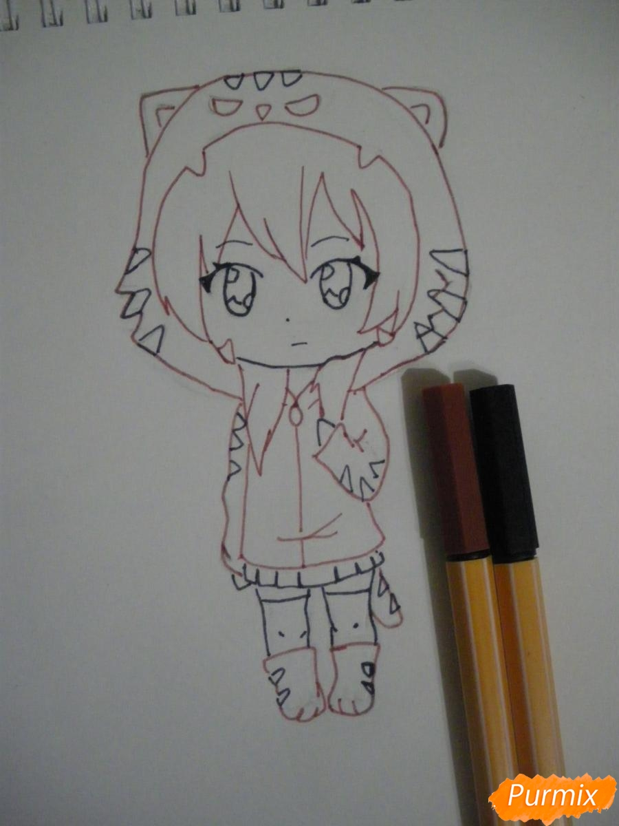 Рисуем чиби девочку в костюме тигра карандашами - шаг 6