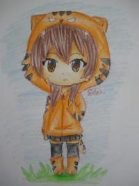 Фото чиби девочку в костюме тигра карандашами