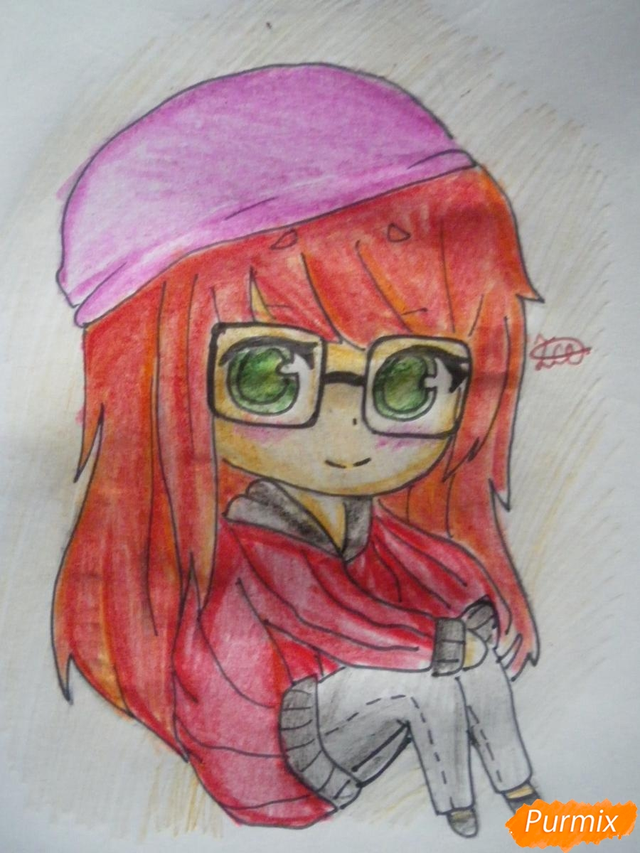 Рисуем чиби девочку в очках и шапке карандашами - шаг 10