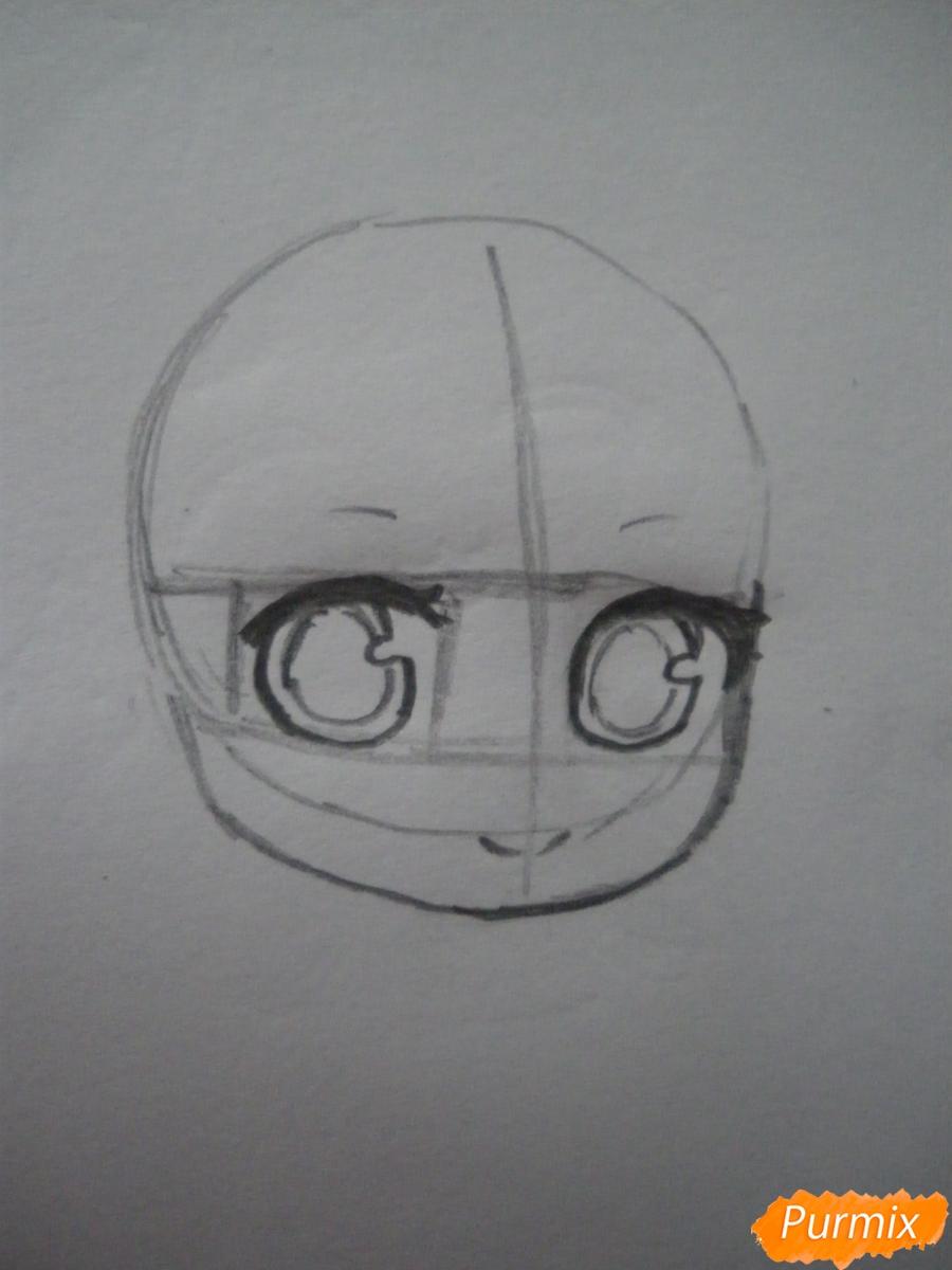 Рисуем чиби девочку в очках и шапке карандашами - шаг 2