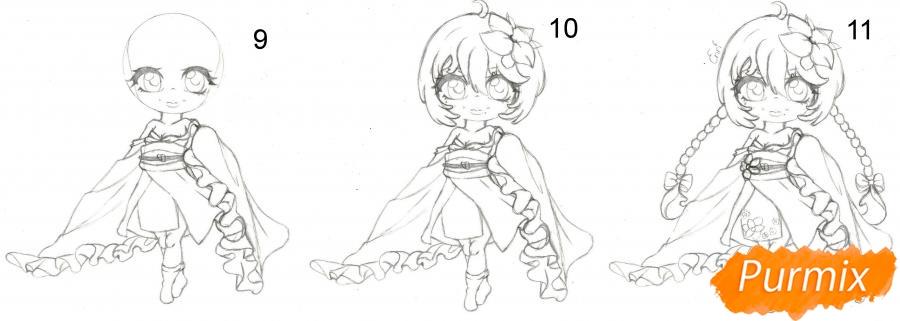Рисуем чиби девочку-волну в юкате цветными карандашами - шаг 3