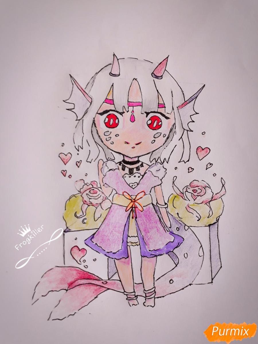 Рисуем чиби девушку-дракона цветными карандашами - шаг 11