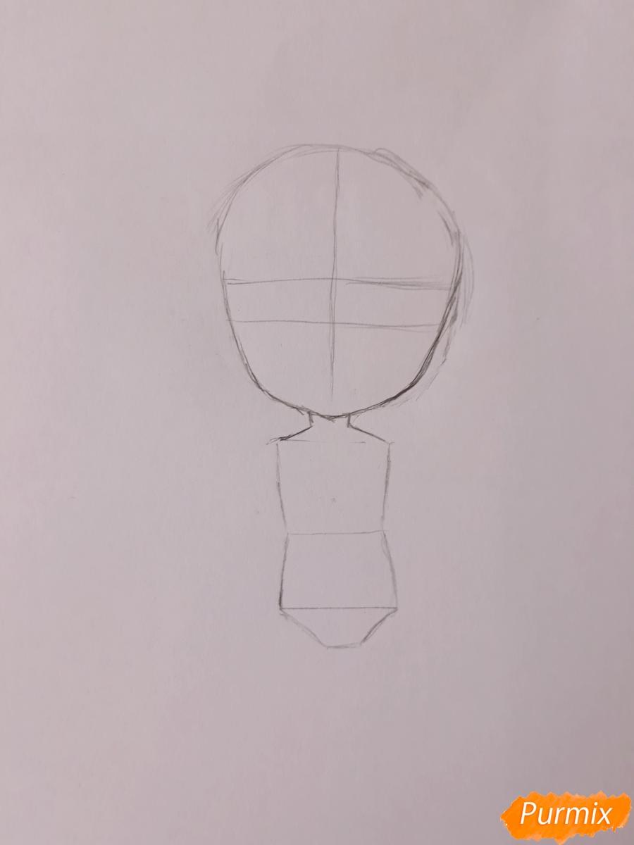 Рисуем чиби девушку-дракона цветными карандашами - шаг 2