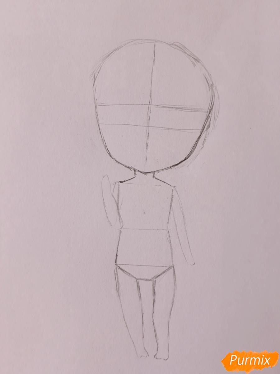 Рисуем чиби девушку-дракона цветными карандашами - шаг 3