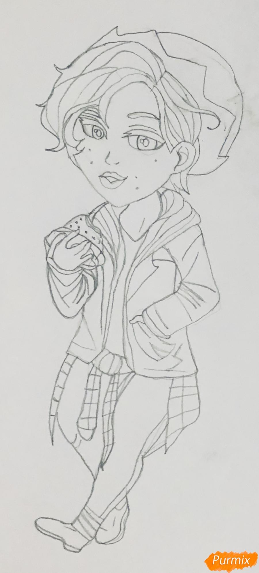 Рисуем Джагхеда из сериала Ривердейл в стиле чиби - шаг 5