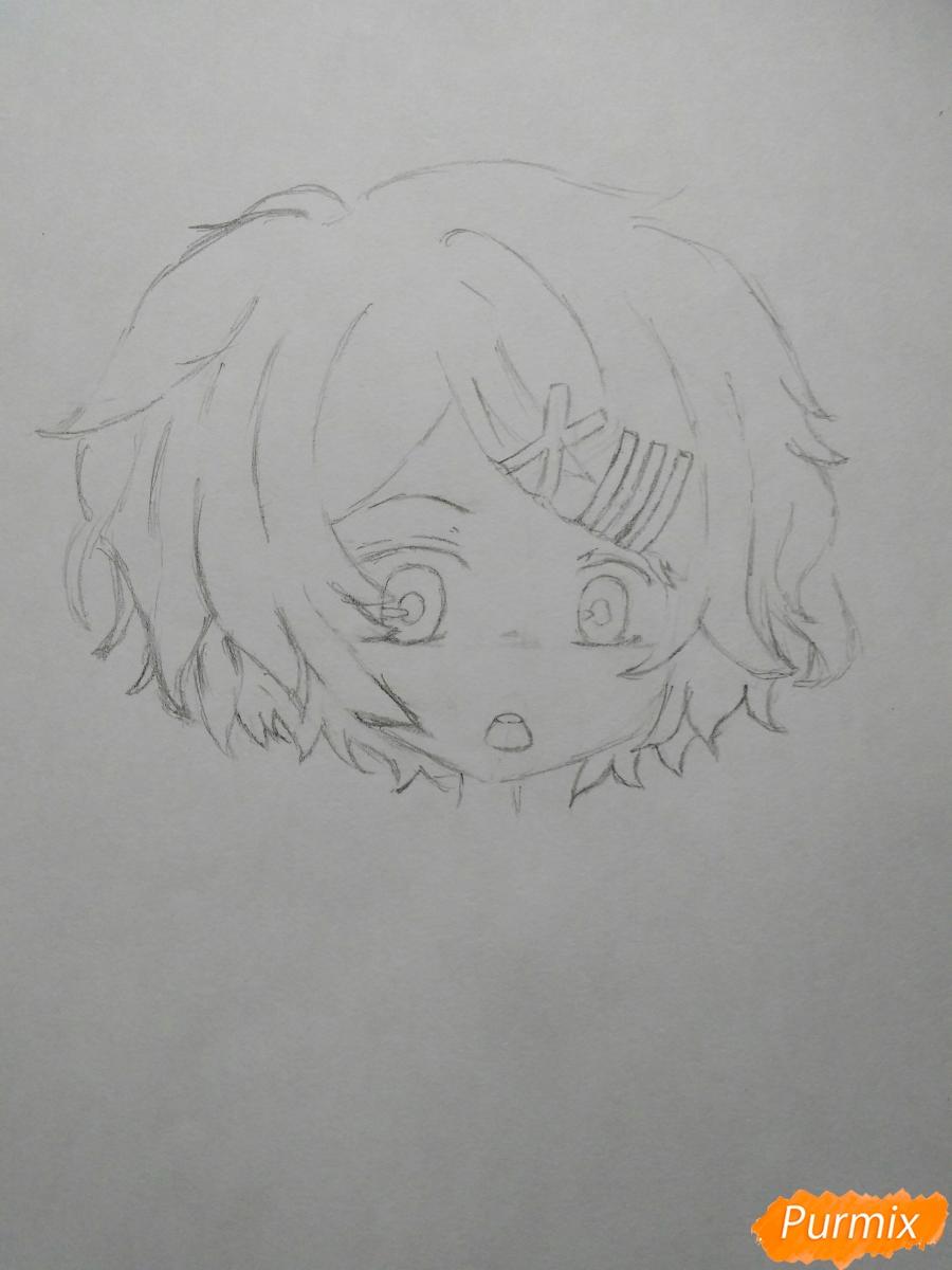 Рисуем чиби Джузо из аниме Токийский гуль - шаг 3