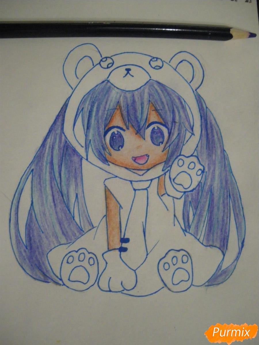 Рисуем чиби Хатсуне Мику в костюме северного мишки - шаг 12