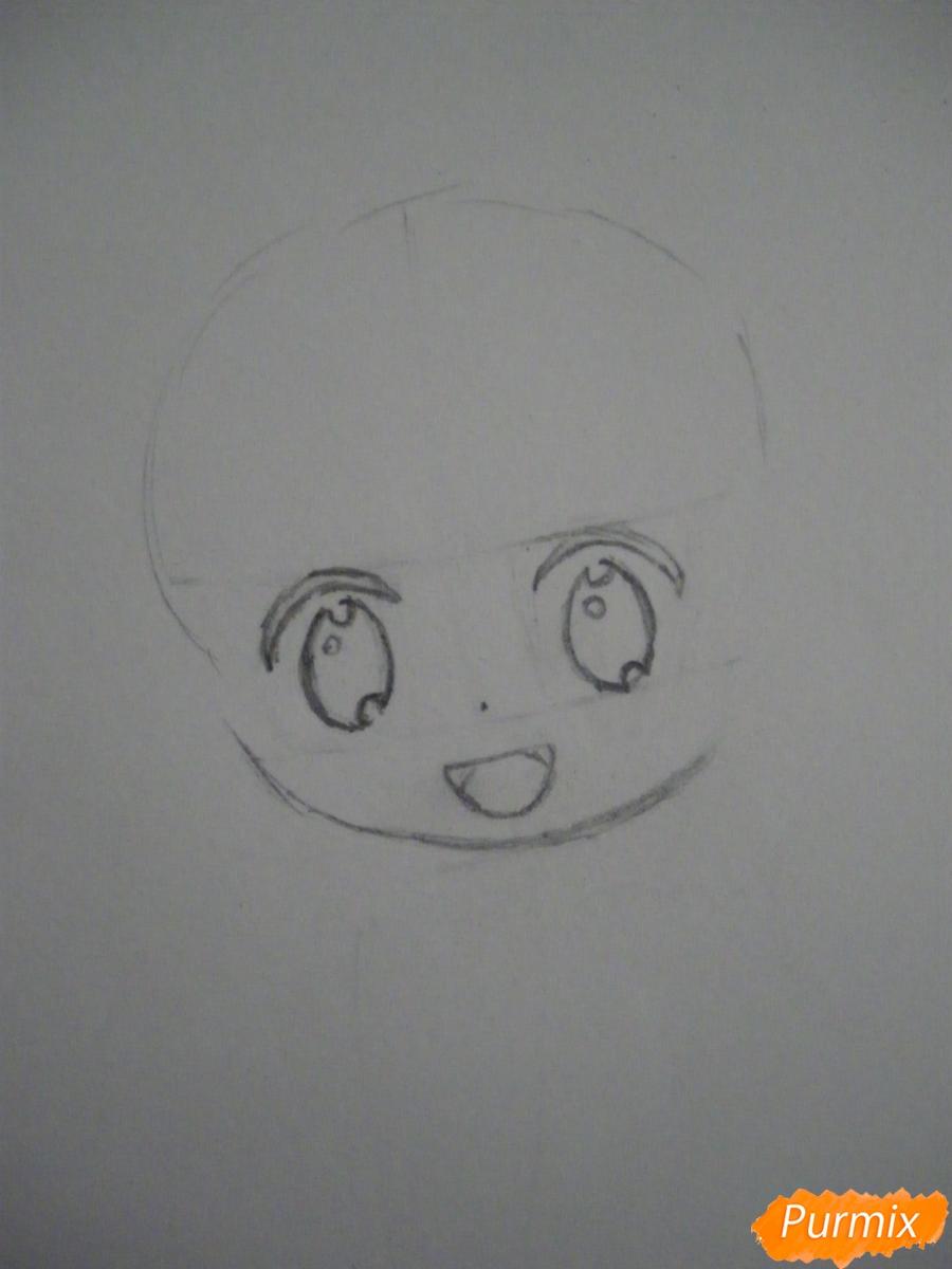 Рисуем чиби Хатсуне Мику в костюме северного мишки - шаг 2
