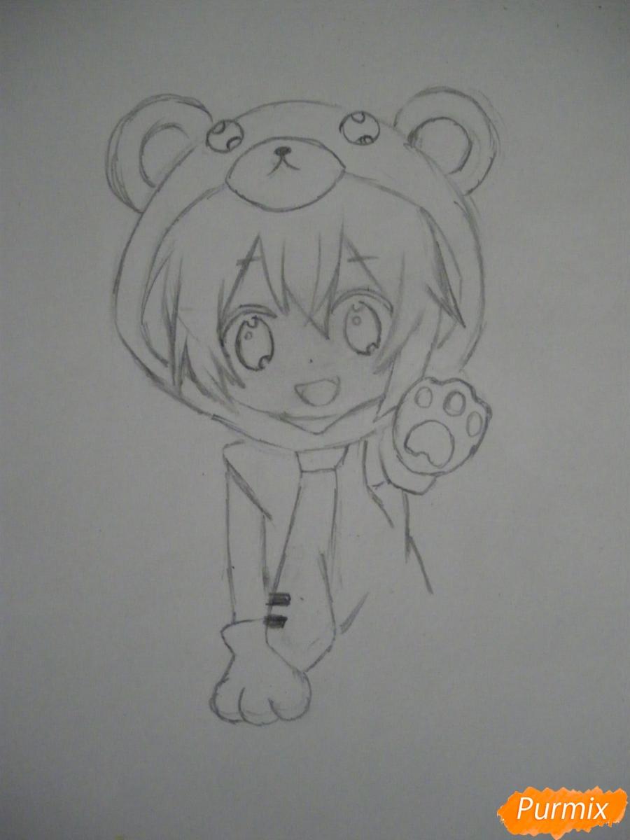 Рисуем чиби Хатсуне Мику в костюме северного мишки - шаг 5