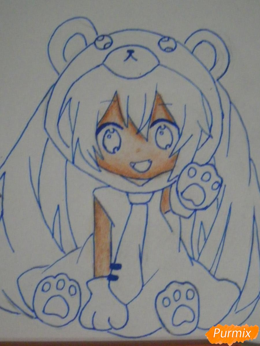Рисуем чиби Хатсуне Мику в костюме северного мишки - шаг 9