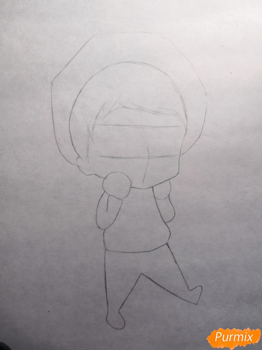 Рисуем чиби Хиде из аниме Токийский гуль - шаг 1