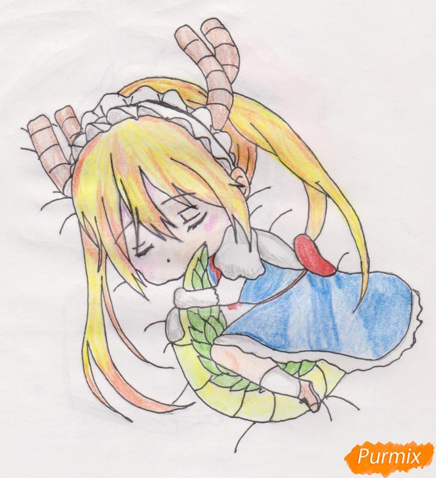 Рисуем чиби Кобаяси из аниме Дракон-горничная Кобаяcи-сан - шаг 10