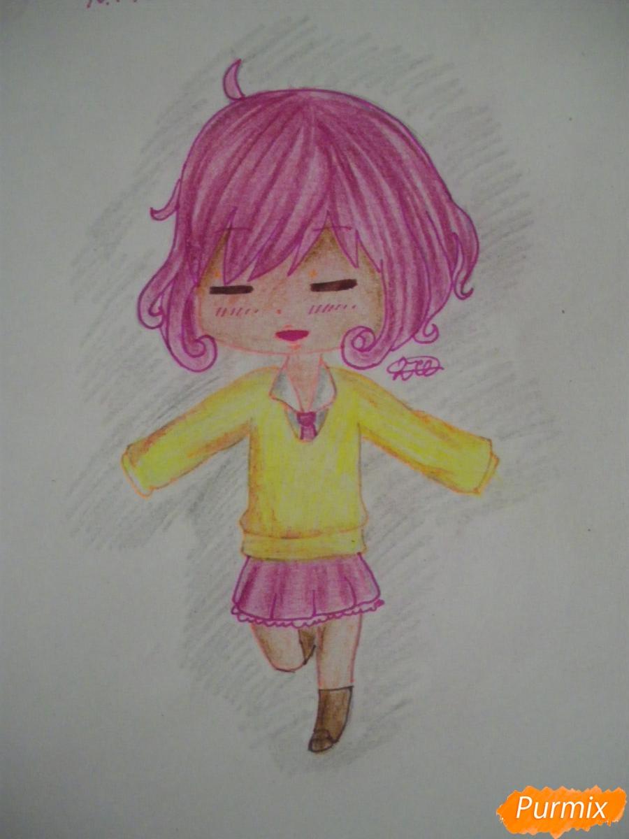 Рисуем чиби Кофуку из аниме бездомный бог карандашами - шаг 11
