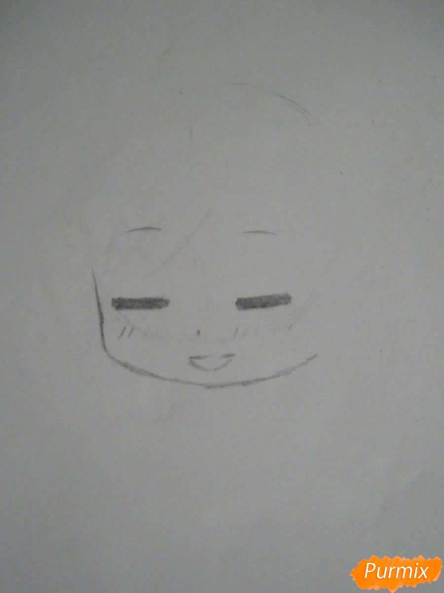 Рисуем чиби Кофуку из аниме бездомный бог карандашами - шаг 2