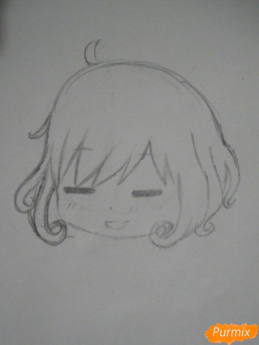 Рисуем чиби Кофуку из аниме бездомный бог карандашами - шаг 3