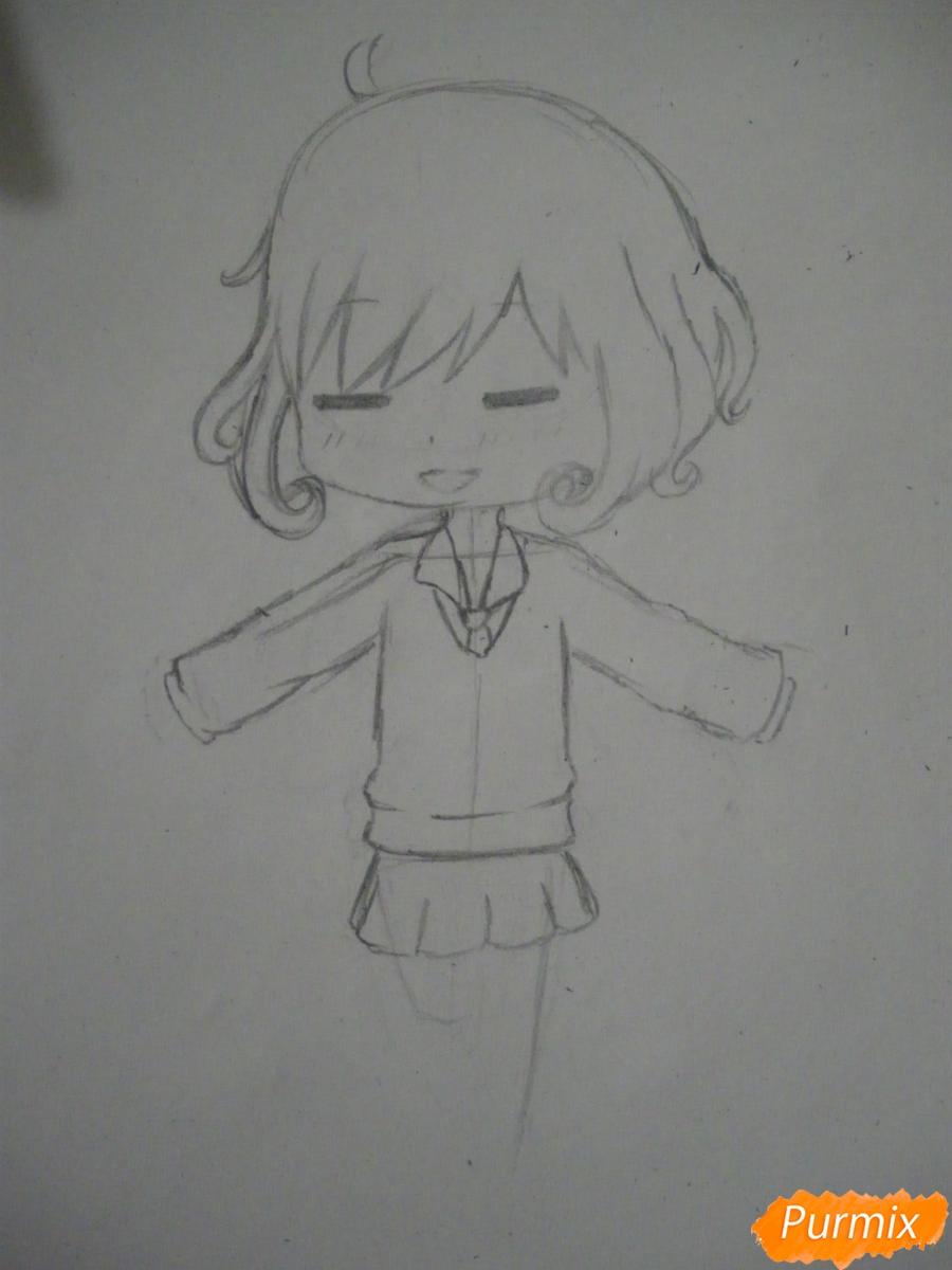 Рисуем чиби Кофуку из аниме бездомный бог карандашами - шаг 5