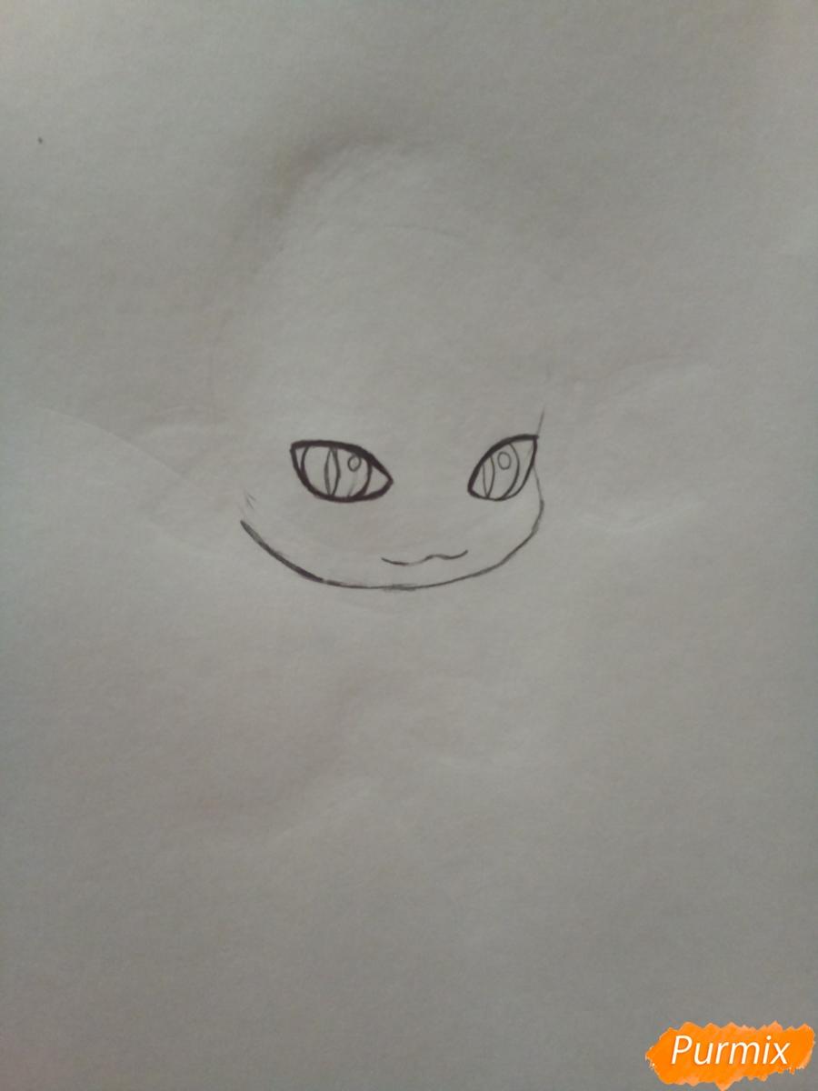 Рисуем чиби кота Нуара карандашами - шаг 2
