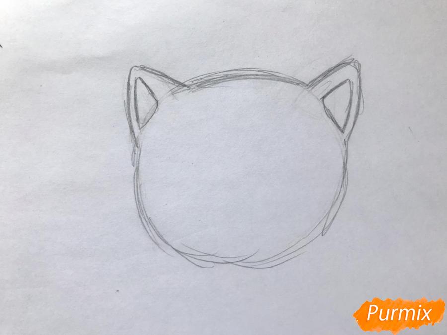 Рисуем чиби котёнка с мышкой на голове - шаг 1