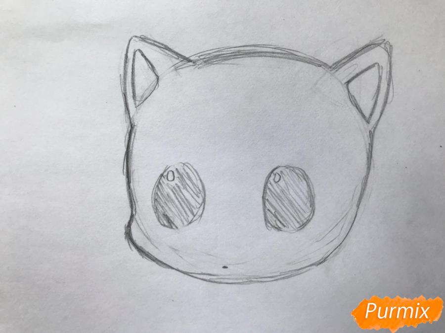 Рисуем чиби котёнка с мышкой на голове - шаг 2