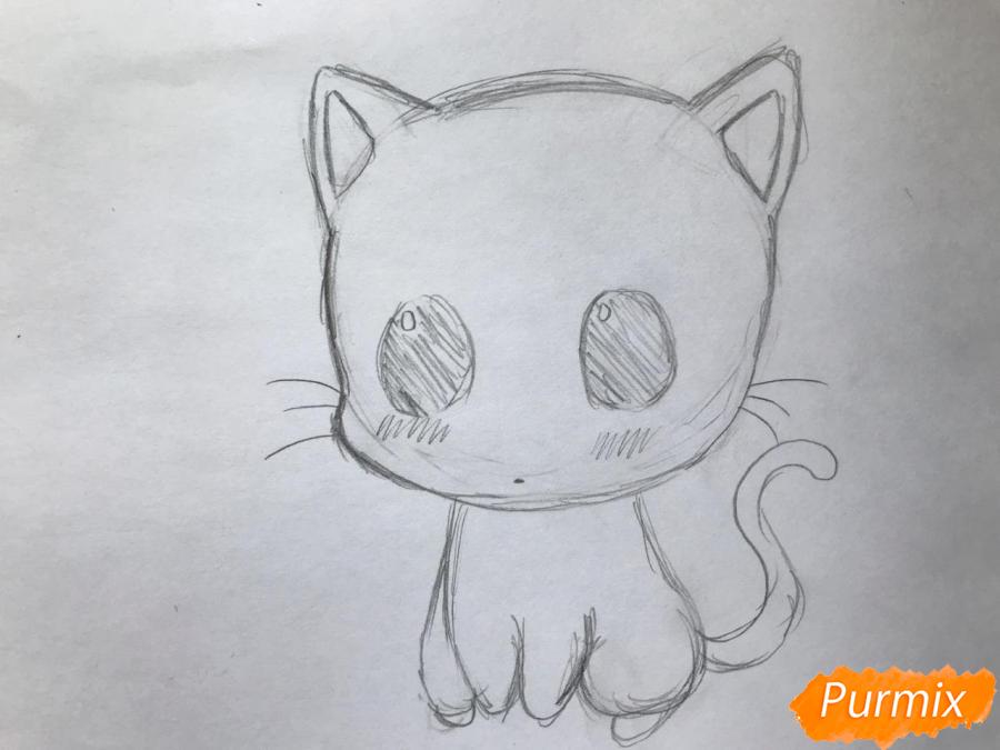 Рисуем чиби котёнка с мышкой на голове - шаг 3