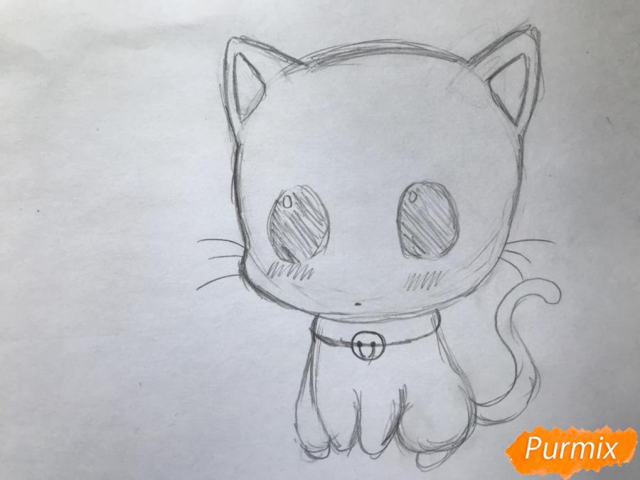 Рисуем чиби котёнка с мышкой на голове - шаг 4