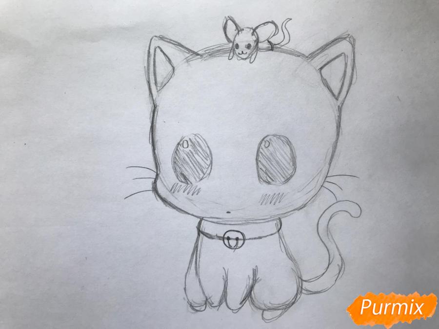 Рисуем чиби котёнка с мышкой на голове - шаг 5