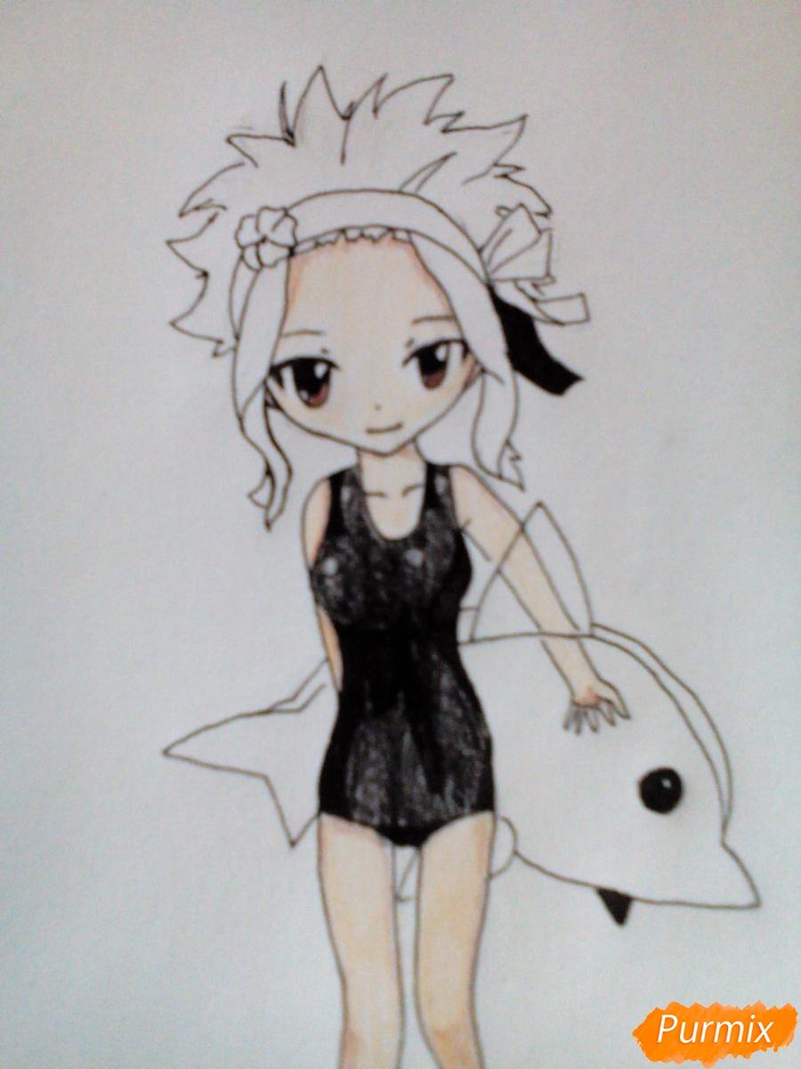 Рисуем чиби Леви в купальнике из аниме Хвост Феи карандашами - шаг 10