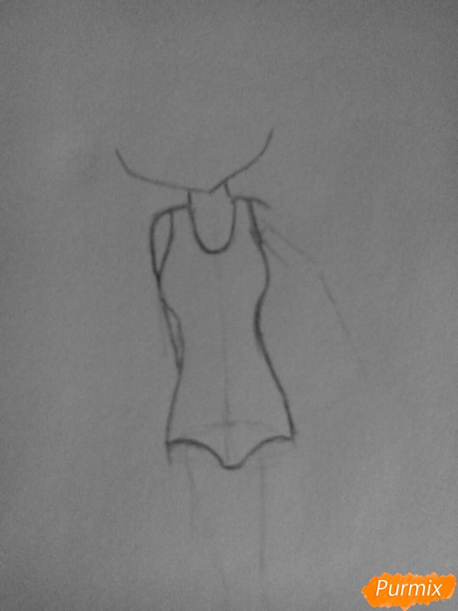 Рисуем чиби Леви в купальнике из аниме Хвост Феи карандашами - шаг 2