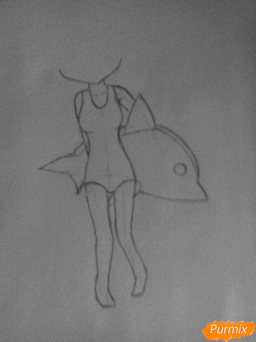 Рисуем чиби Леви в купальнике из аниме Хвост Феи карандашами - шаг 3