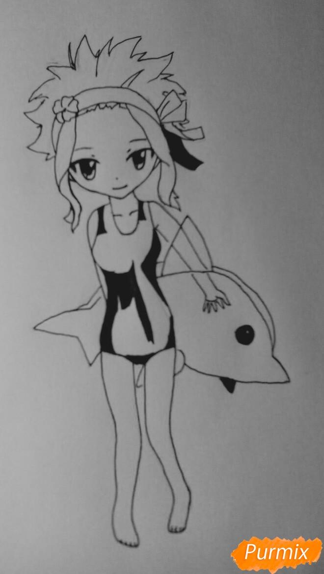 Рисуем чиби Леви в купальнике из аниме Хвост Феи карандашами - шаг 8