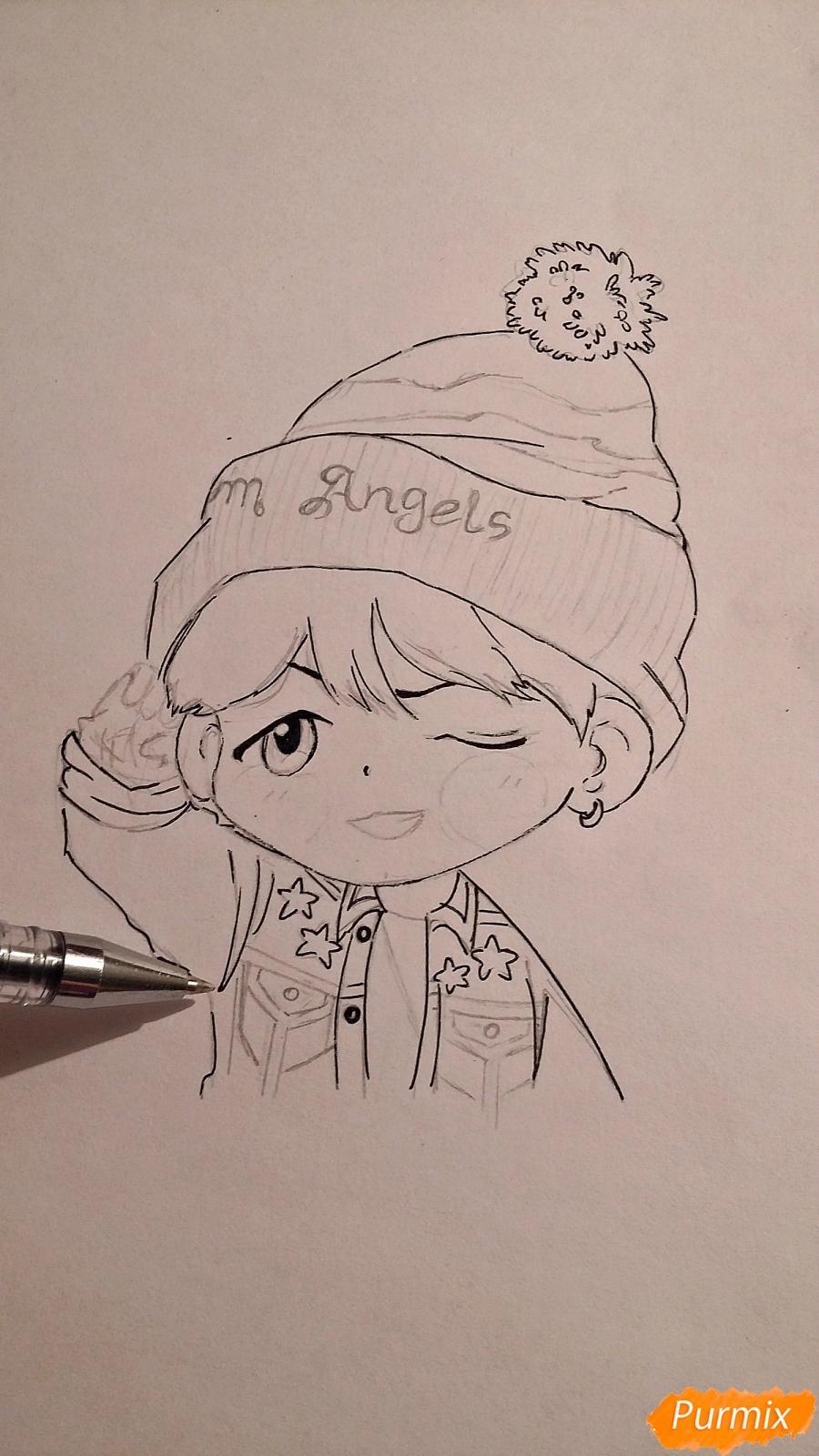 Рисуем чиби-мальчика в шапке цветными карандашами - шаг 10
