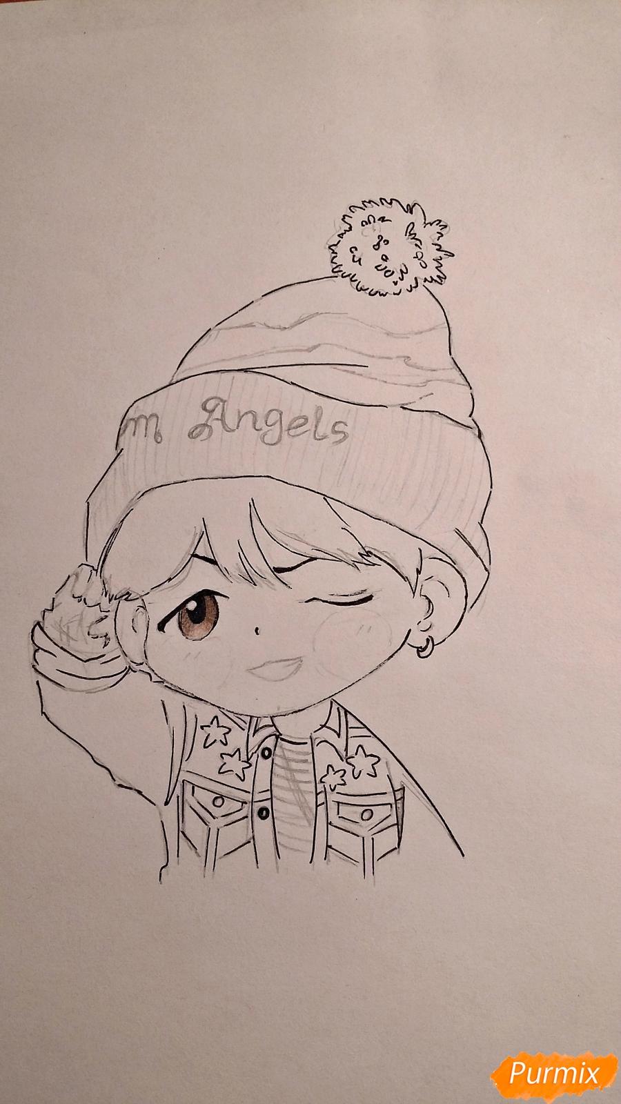 Рисуем чиби-мальчика в шапке цветными карандашами - шаг 11