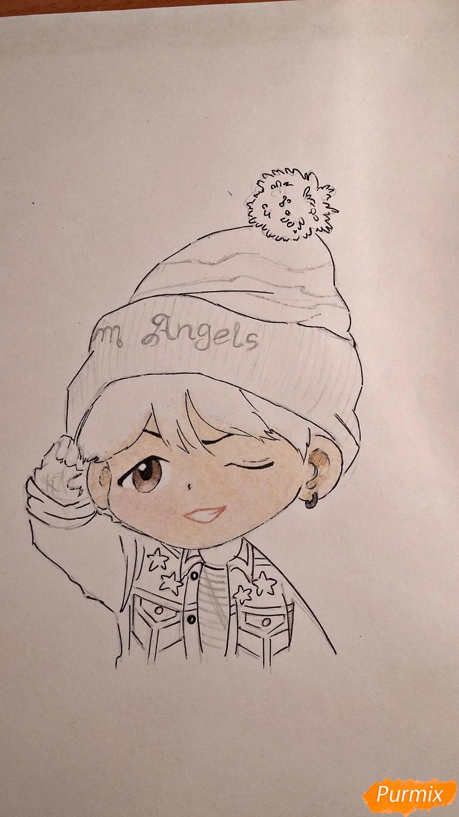Рисуем чиби-мальчика в шапке цветными карандашами - шаг 12