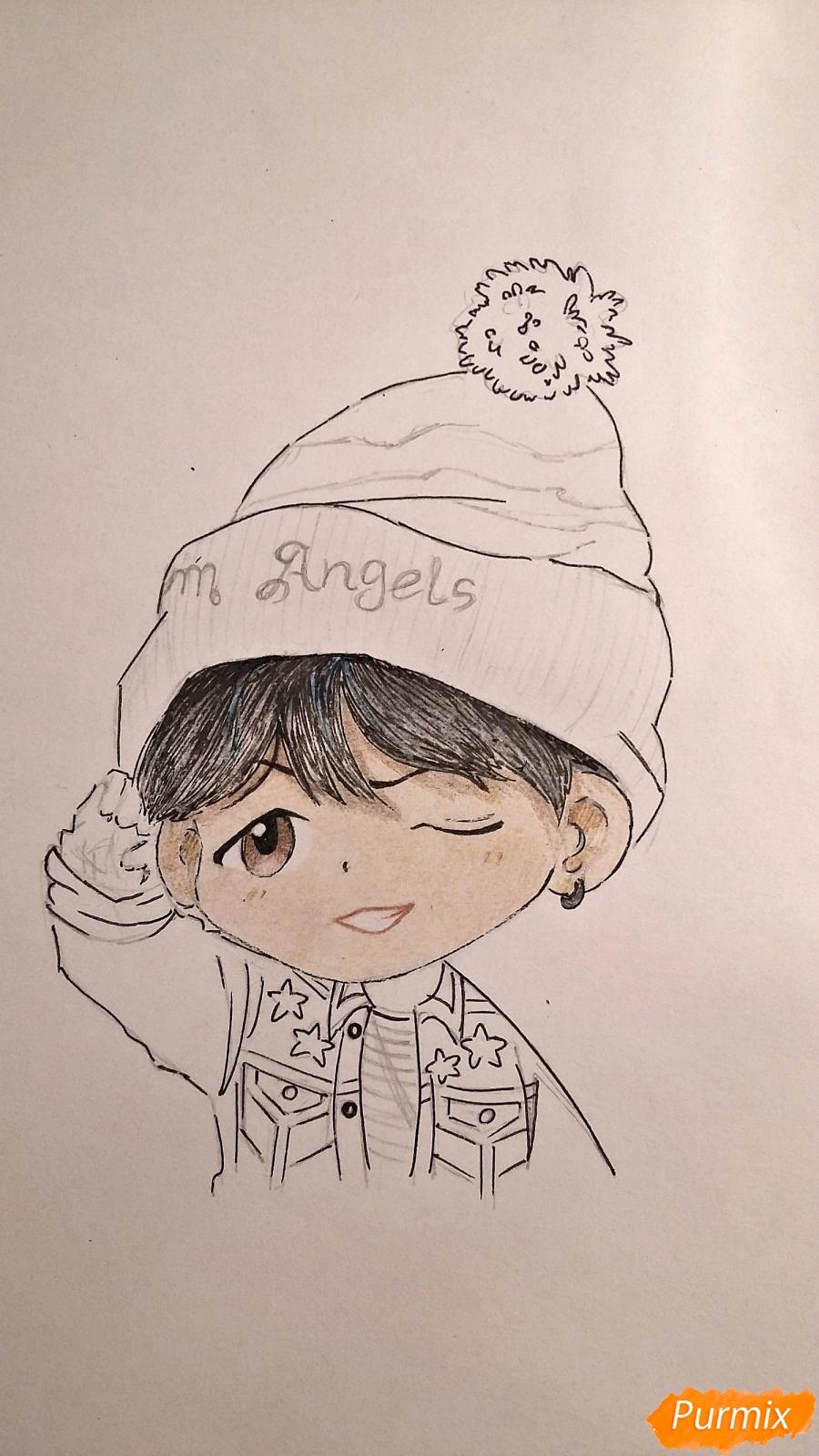 Рисуем чиби-мальчика в шапке цветными карандашами - шаг 13