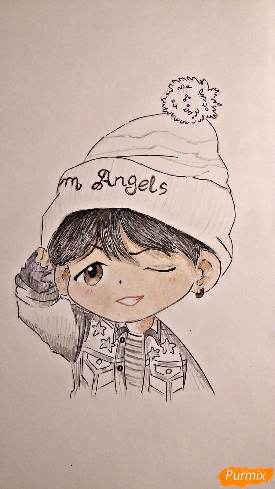 Рисуем чиби-мальчика в шапке цветными карандашами - шаг 14