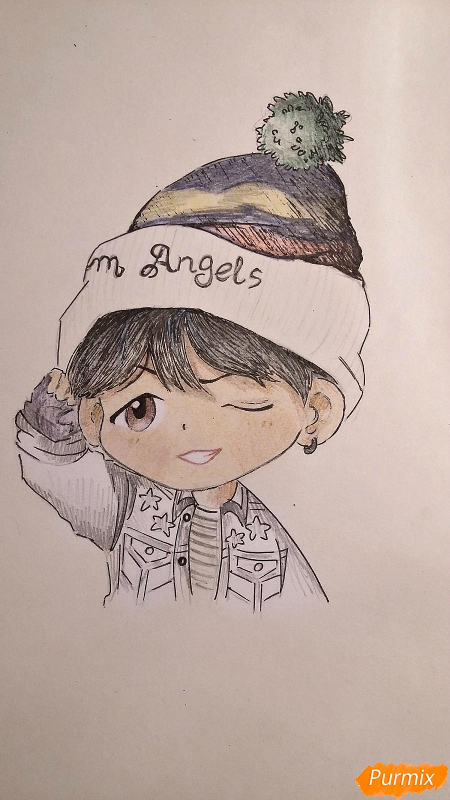 Рисуем чиби-мальчика в шапке цветными карандашами - шаг 15