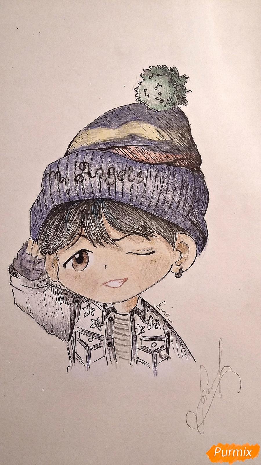 Рисуем чиби-мальчика в шапке цветными карандашами - шаг 16