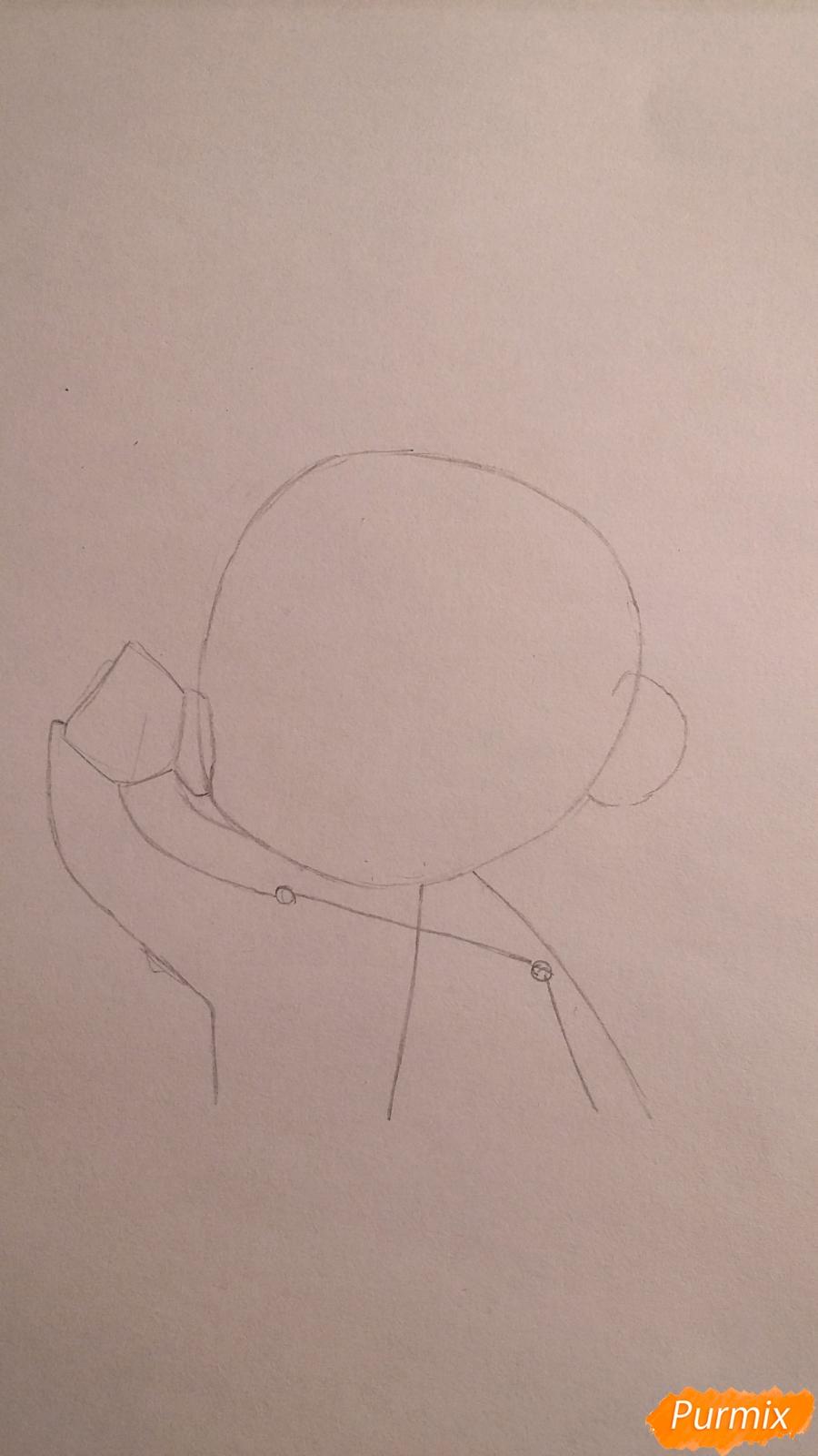 Рисуем чиби-мальчика в шапке цветными карандашами - шаг 2