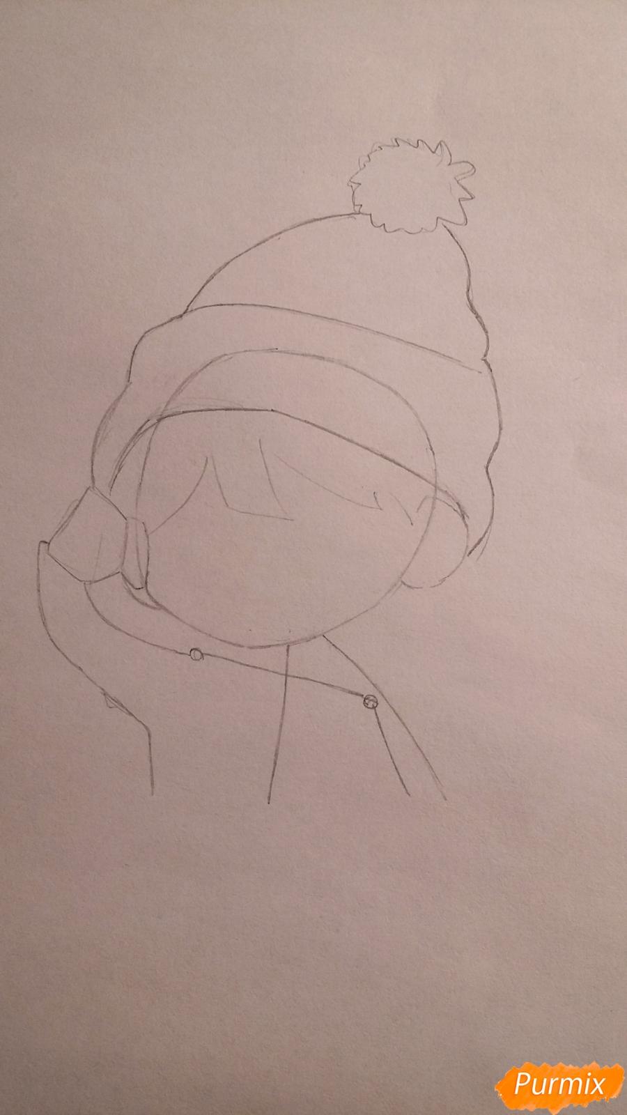 Рисуем чиби-мальчика в шапке цветными карандашами - шаг 3