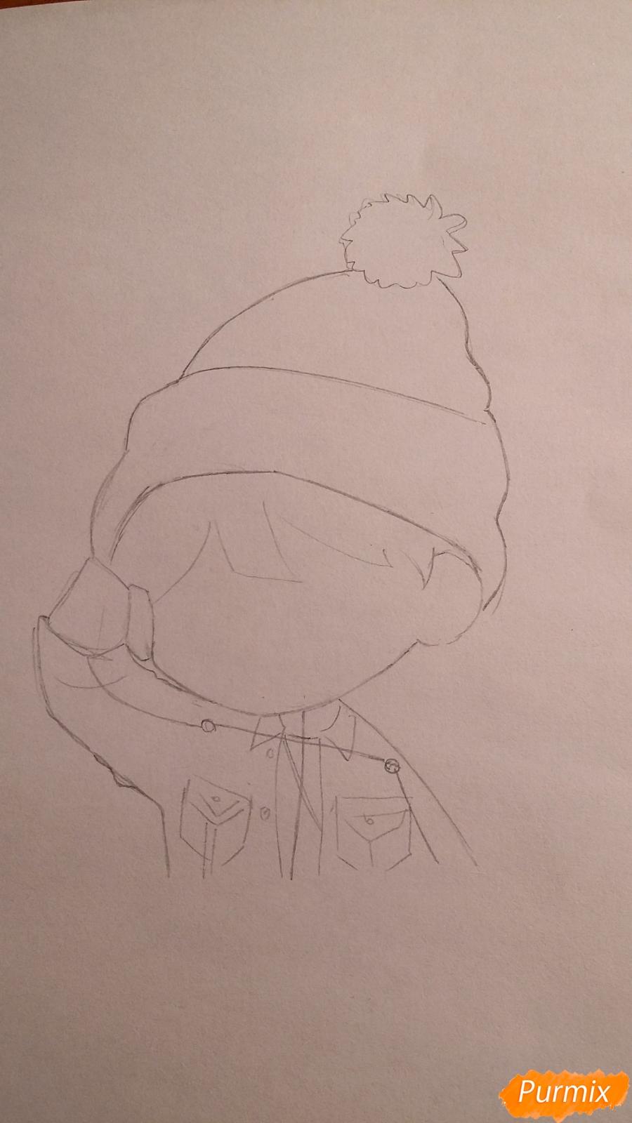 Рисуем чиби-мальчика в шапке цветными карандашами - шаг 4