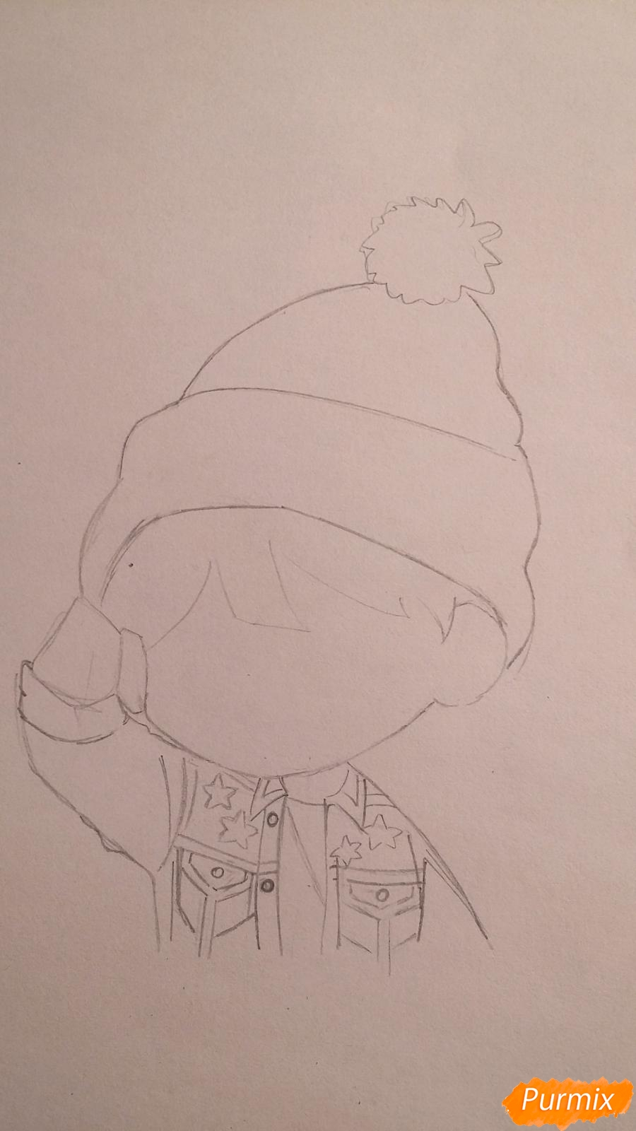Рисуем чиби-мальчика в шапке цветными карандашами - шаг 5